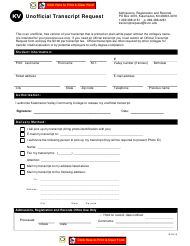 """Unofficial Transcript Request - Kalamazoo Valley Community College"" - Michigan"