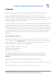 Transcript Request Form - Caribbean College of the Bible International - Trinidad and Tobago
