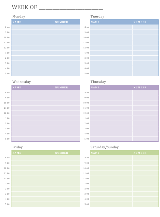 """""""Weekly Appointment Schedule Spreadsheet Template"""" Download Pdf"""