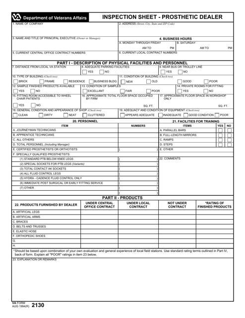 VA Form 2130 Fillable Pdf
