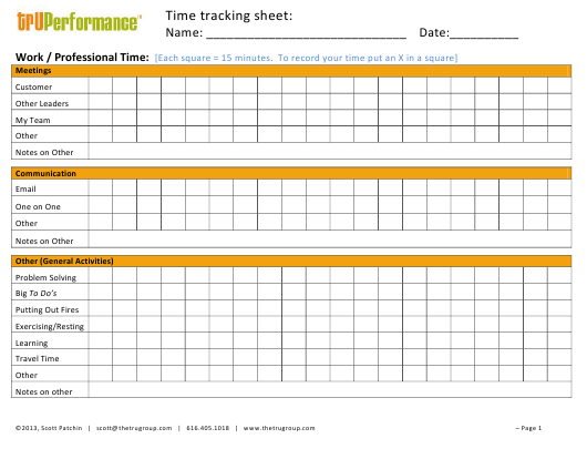 """Time Tracking Sheet -tru Performance"" Download Pdf"