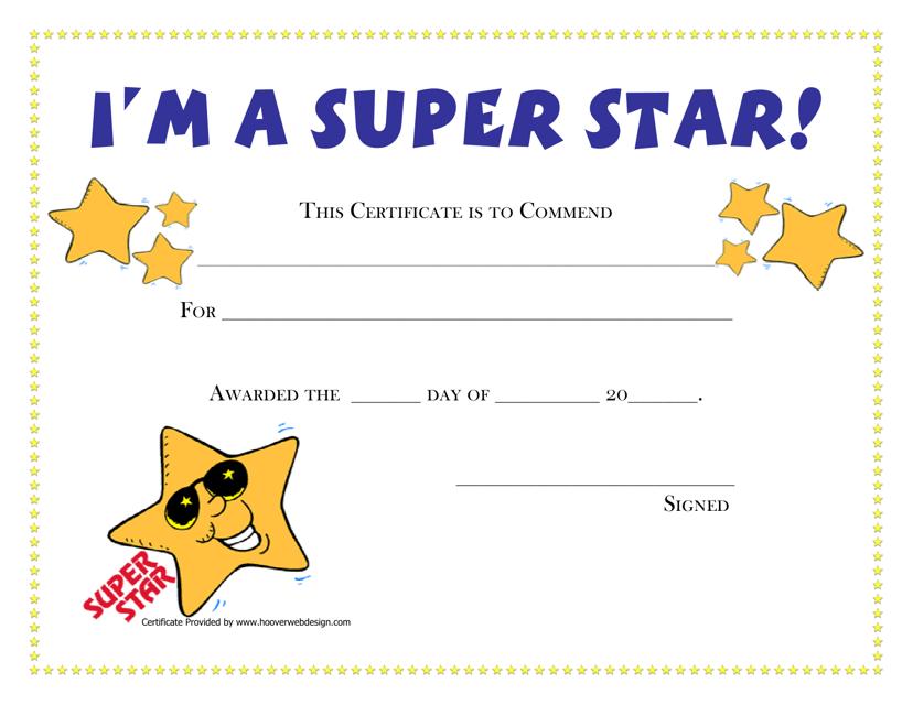 """""""I'm a Super Star Award Certificate Template"""" Download Pdf"""
