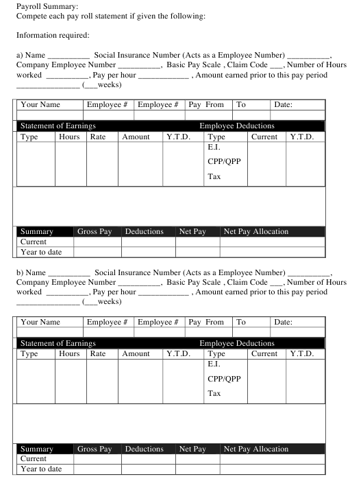 """Payroll Summary Template"" Download Pdf"