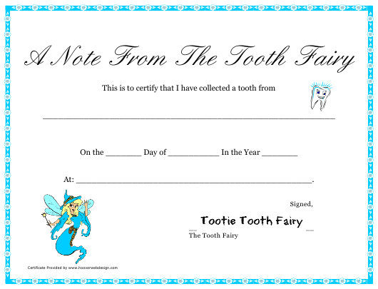 """""""Tooth Fairy Certificate Template"""" Download Pdf"""