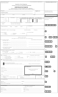 "Municipal Form 103 ""Certificate of Death"" - Catbqalogan, Philippines"