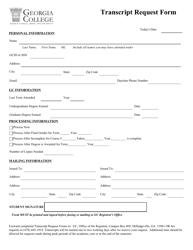 Transcript Request Form - Georgia College - Georgia