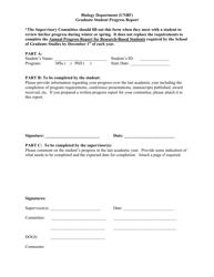 Graduate Student Progress Report Form - University of New Brunswick - New Brunswick