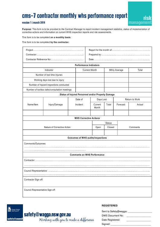 """Cms-7 Contractor Monthly WHS Performance Report Template"" - Australia Download Pdf"