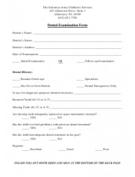 Dental Examination Form - the Salvation Army Children's Services