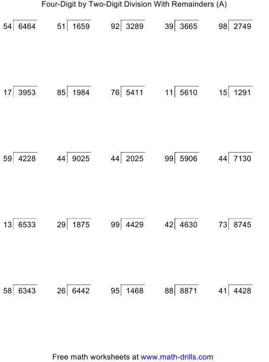 """""""Four-Digit by Two-Digit Division With Remainders Worksheet With Answer Key"""" Download Pdf"""