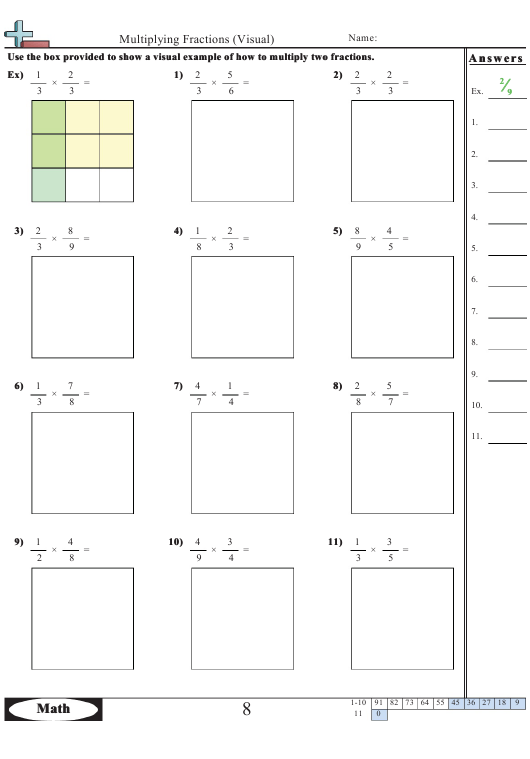 """""""Multiplying Fractions Visual Worksheet With Answers"""" Download Pdf"""