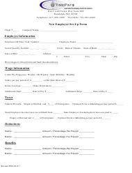 """New Employee Set-Up Form - Timepays"" - Massachusetts"