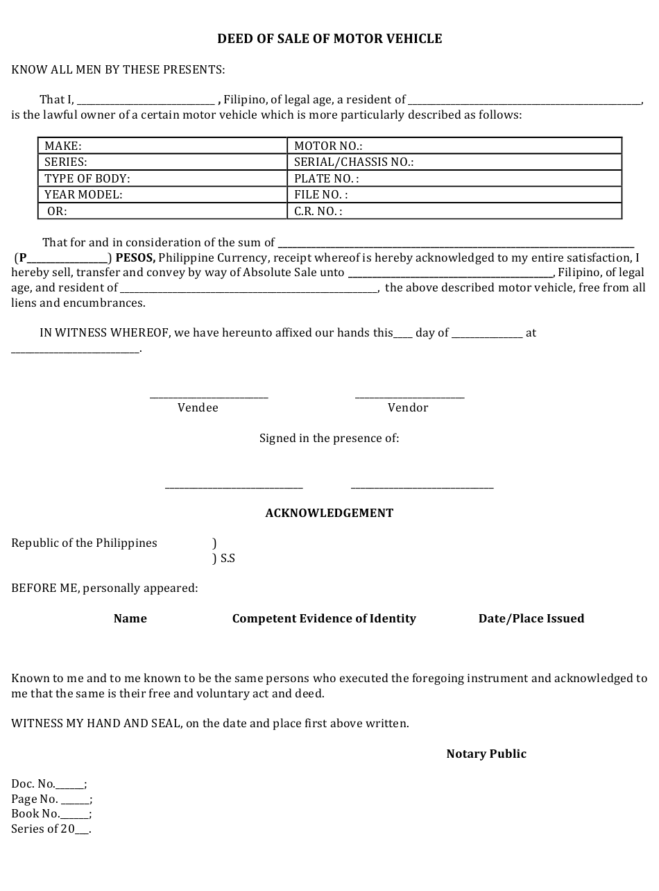 """""""Deed of Sale of Motor Vehicle Form"""" - Philippines Download Pdf"""