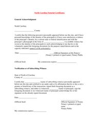 North Carolina Notarial Certificates - North Carolina