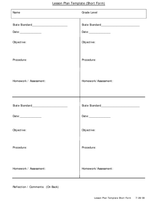 """Lesson Plan Template - Short Form"" Download Pdf"