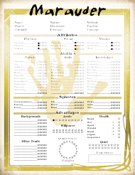 """Mage the Ascension Marauder Character Sheet"""