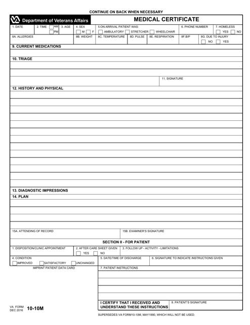 VA Form 10-10M Fillable Pdf