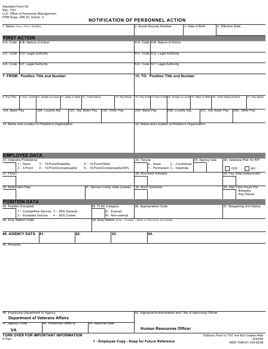 OPM Form SF-50 Fillable Pdf