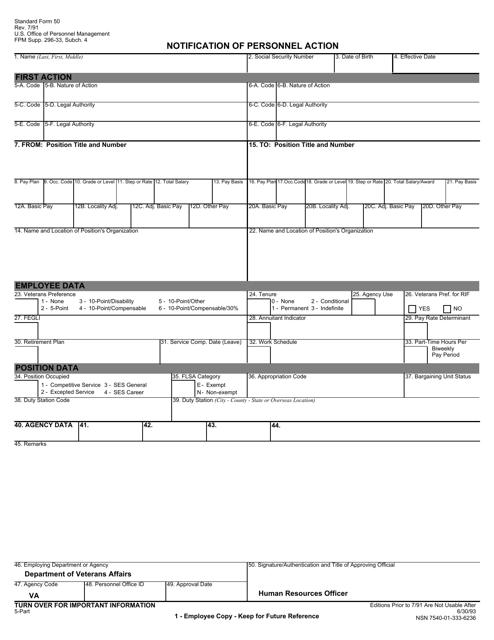 OPM STANDARD Form 50  Fillable Pdf