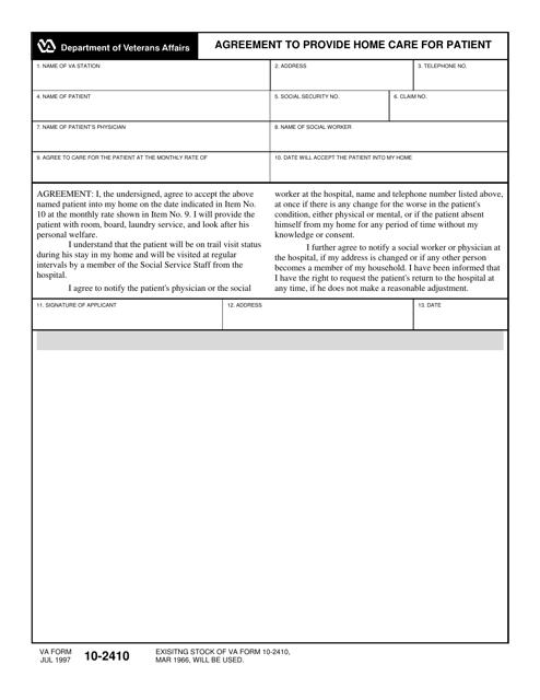 VA Form 10-2410 Fillable Pdf
