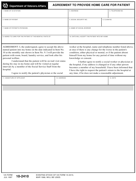 VA Form 10-2410 Fillable Pdf