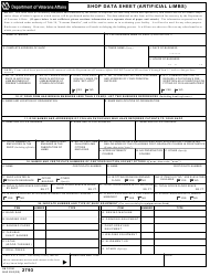 VA Form 2793 Shop Data Sheet (Artificial Limbs)