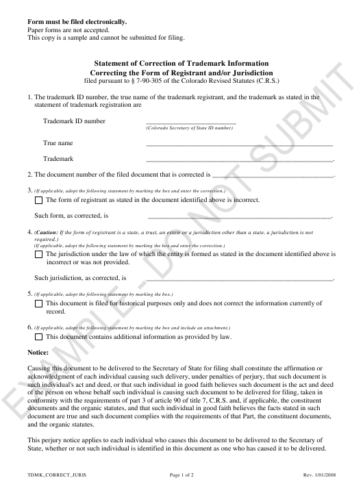 """Statement of Correction of Trademark Information Correcting the Form of Registrant and/Or Jurisdiction - Sample"" - Colorado Download Pdf"