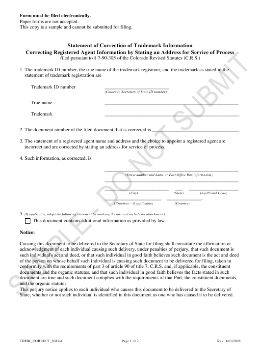"""Statement of Correction of Trademark Information Correcting Registered Agent Information by Stating an Address for Service of Process - Sample"" - Colorado Download Pdf"