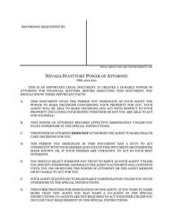 Statutory Power of Attorney Form - Nevada