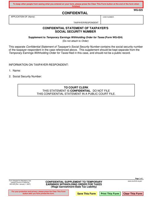 Form WG-025  Printable Pdf