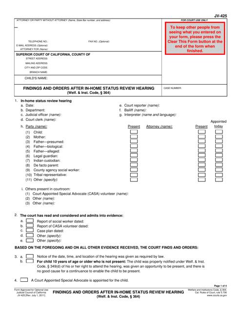 Form JV-425  Printable Pdf