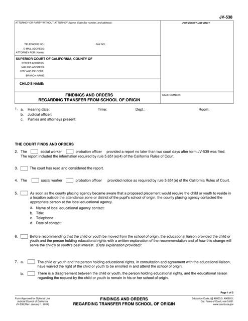 Form JV-538  Printable Pdf