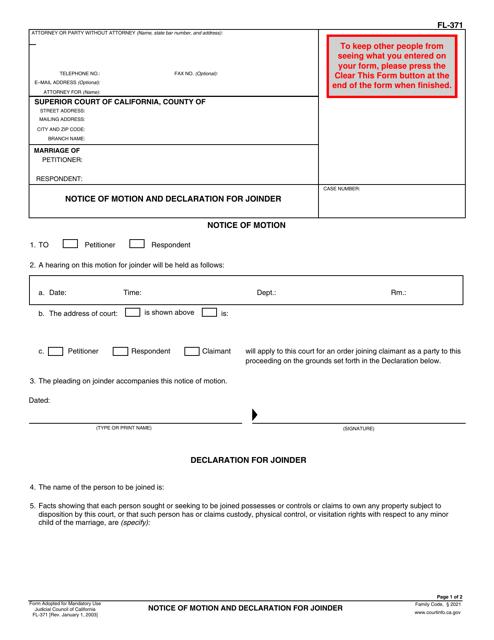 Form FL-371  Printable Pdf