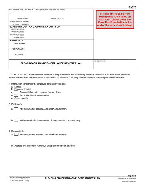 Form FL-370  Printable Pdf