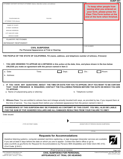 Form SUBP-001  Printable Pdf