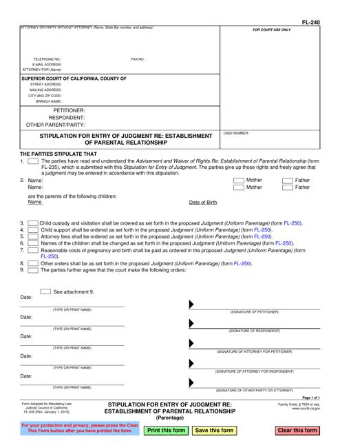 Form FL-240  Printable Pdf