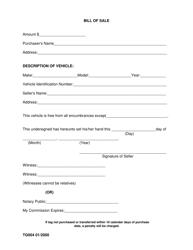 Vehicle Bill of Sale Form - Madison County, Alabama