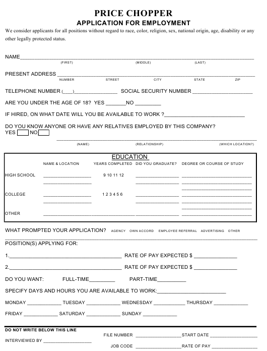 """Employment Application Form - Price Chopper"" Download Pdf"