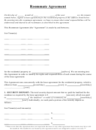 """Roommate Agreement Template"""
