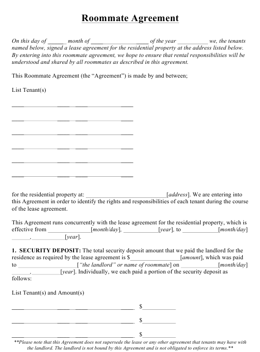 """Roommate Agreement Template"" Download Pdf"