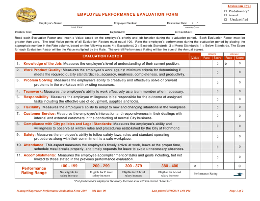 """Performance Evaluation Form"" - City of Richmond, Virginia Download Pdf"