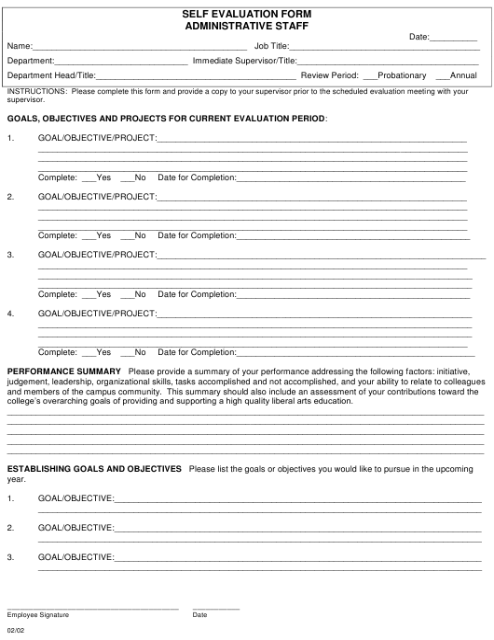 """Administrative Staff Self Evaluation Form"" Download Pdf"