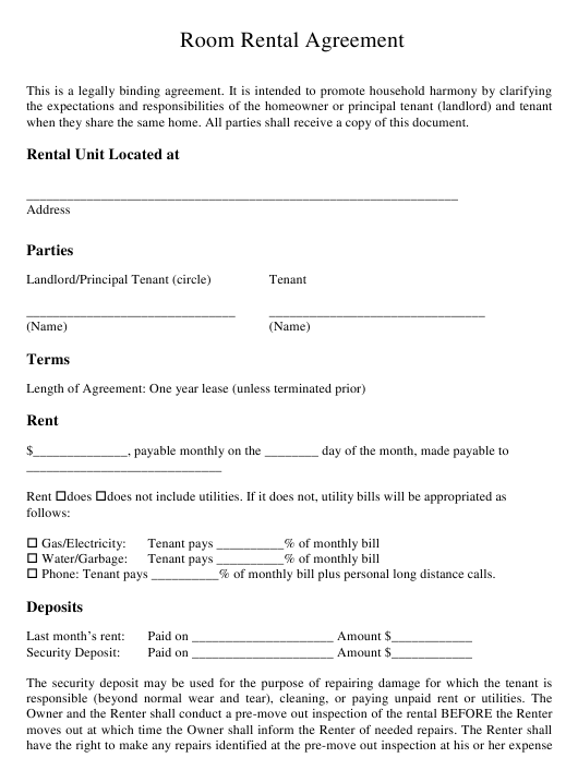 Room Rental Agreement Form Download Printable Pdf