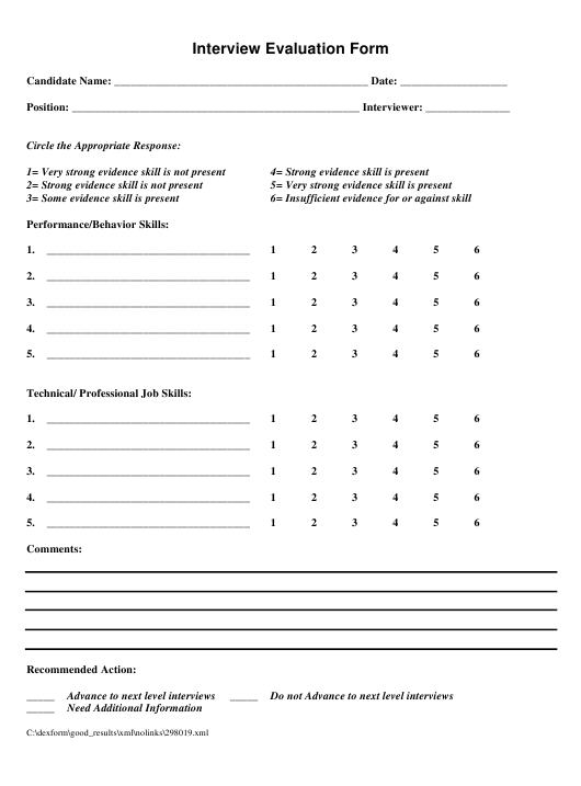 """Interview Evaluation Form"" Download Pdf"