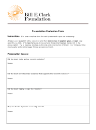 """Presentation Evaluation Form - Bill E. Clark Foundation"""