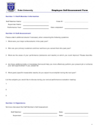 Employee Self-assessment Form - Duke University