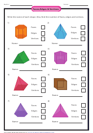 """Faces, Edges & Vertices Worksheet With Answers"""