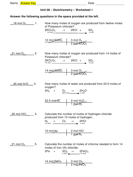 Unit 08 - Stoichiometry - Worksheet 1 With Answer Key ...