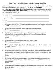 """Oral Team Project Presentation Evaluation Form"" - Michigan"