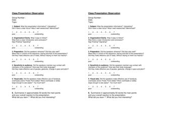 """Class Presentation Observation Form"""